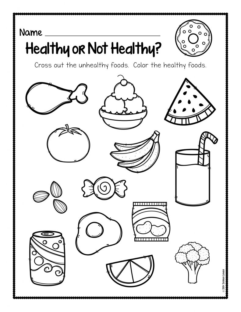 Print this document, try healthy unhealthy food segregation
